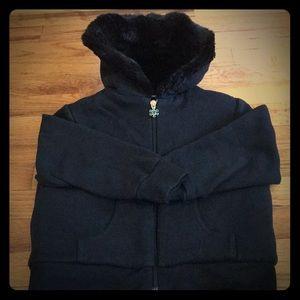 Old Navy Girls Black Fur lined Hoodie XS